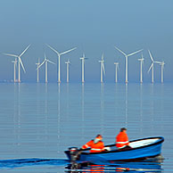 Wind turbines at sea of Lillgrund, Sweden's largest offshore wind farm south of the Øresund Bridge