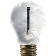 Chimney covered in smoke inside incandescent lamp / bulp against white background