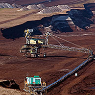 Brown coal / lignite being extracted by huge bucket-wheel excavators at open-pit mine, Saxony-Anhalt, Germany