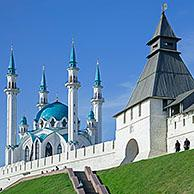 Kul Sharif Mosque / Qolsharif Mosque / Qolşärif mosque, now museum of Islam in Kazan Kremlin, chief citadel of Russia in the city Kazan, Tatarstan