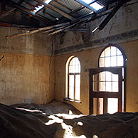 The ghost town Kolmanskop, an abandoned mining town in the desert, Luderitz, Namibia, South Africa