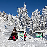 Tourists and frozen snow covered spruce trees in winter at Brocken, Blocksberg in the Harz National Park, Germany