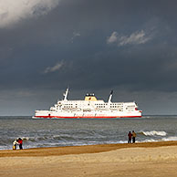 Ferry boat in front of the beach at Ostend, Belgium