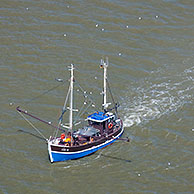 Shrimp boat fishing in the Wadden sea, North Frisia, Germany
