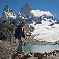 View over Mount Fitz Roy and the Laguna de los Tres in the Andes, Patagonia, Argentina