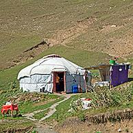 Kyrgyz yurt, temporary summer nomad dwelling in the mountains in the Osh Province, Kyrgyzstan