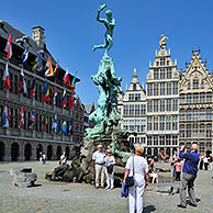 Antwerp City Hall, guildhalls and the statue of Brabo at the Grote Markt / Main Square / Grand Place, Belgium
