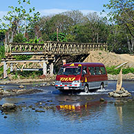 Taxi crossing river in Costa Rica