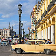 Old 1950s vintage American cars / Yank tank on the Prado avenue / Paseo del Prado in Havana, Cuba, Caribbean