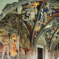 Cathedral cloister, arcades and vaults with frescoes at Brixen / Bressanone, Dolomites, Italy