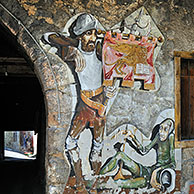 Murals on houses at Cibiana di Cadore, Dolomites, Italy