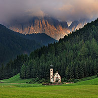 The chapel Sankt Johann at Val di Funes / Villnösstal at sunset, Dolomites, Italy