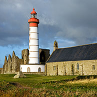 Lighthouse and abbey of Pointe Saint-Mathieu, Finistére, Brittany, France