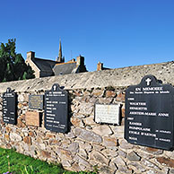 Wall of the Departed at the Ploubazlanec cemetery with the names of 120 boats and 2000 Iceland fishermen lost at sea in the Icelandic waters, Côtes-d'Armor, Brittany, France
