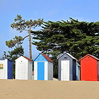 Colourful beach cabins at Saint-Denis-d'Oléron on the island Ile d'Oléron, Charente-Maritime, France