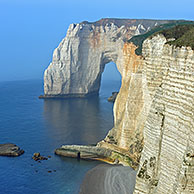 La Manneporte at sunset, a natural arch in the chalk cliffs at Etretat, Côte d'Albâtre, Upper Normandy, France