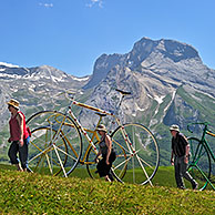 Giant bicycle sculptures at the Col d'Aubisque in the Pyrenees, France