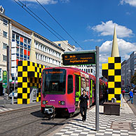 Tram at tramstop at the Steintorplatz in Hannover, Lower Saxony, Germany