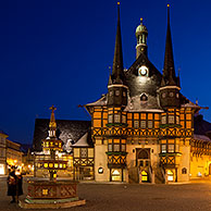 Town hall at Wernigerode at sunset, Harz, Saxony-Anhalt, Germany