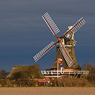 Traditional windmill at Oldsum, Föhr, North Frisia, Schleswig-Holstein, Germany