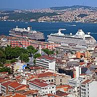 Cruise ships on the Bosporus River and bird's eye view over the city Istanbul, Turkey