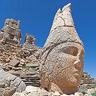 East Terrace: Heads of Antiochus I Theos and Heracles Artagnes Ares at Mount Nemrut / Nemrud / Nemrut Dagi, royal tomb from the 1st century BC in Ad%u0131yaman, southeastern Turkey