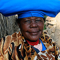 Herero woman in traditional dress, Opuwo, Namibia, South Africa