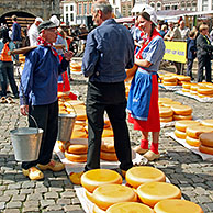 People on wooden clogs at cheese market, Gouda, the Netherlands