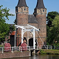Old town gate with drawbridge, Delft, the Netherlands