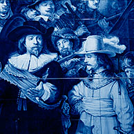 The night watch by Rembrandt in delft blue, Delft, the Netherlands