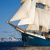 The tall ship / barquentine Antigua sailing with tourists towards Svalbard, Spitsbergen, Norway