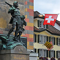 Statue of William Tell and his son at Altdorf, Switzerland