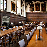 Interior of the Magdalen College dining hall of the Oxford University, Oxfordshire, England, UK