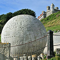 The Great Globe made of Portland stone near Durston Castle on the Isle of Purbeck along the Jurassic Coast in Dorset, southern England, UK