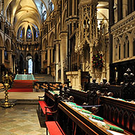 12th century choir stalls inside the Canterbury Cathedral in Canterbury, Kent, England, UK