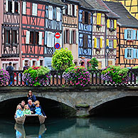 Colorful facades of timber framed houses at Petite Venise / Little Venice, Colmar, Alsace, France