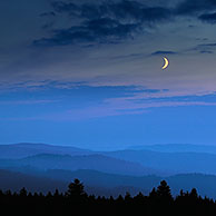 View over the Vosges mountains at night, Alsace, France
