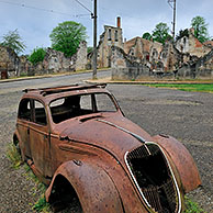 Ruins along the high street. The burned village Oradour-sur-Glane was destroyed on 10 June 1944, when 642 of its inhabitants, including women and children, were massacred by a German Waffen-SS company, Limousin, France