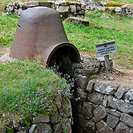 Iron turret from trench at the First World War battlefield Le Linge at Orbey, Alsace, France